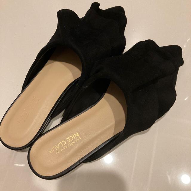 NICE CLAUP(ナイスクラップ)のナイスクラップ サンダル ミュール 黒 フリフリ 500円可 レディースの靴/シューズ(サンダル)の商品写真