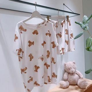 ジェラートピケ(gelato pique)のベアモチーフTシャツ&ショートパンツ&セット ベージュ(パジャマ)