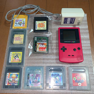 ゲームボーイ(ゲームボーイ)のゲームボーイカラー 本体 ・ゲームソフト9本・電源コード(携帯用ゲーム機本体)