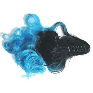新品☆【クリップ】黒X青グラデーションカラーポニーテールウィッグ(ロングカール)