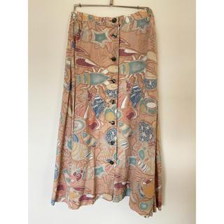 vintage スカート 古着スカート ピンクスカート(ロングスカート)