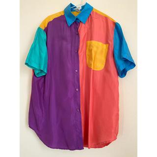 vintage  カラフルシルクシャツ 古着シャツ とろみシャツ(シャツ/ブラウス(長袖/七分))