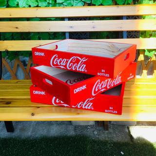 コカコーラ(コカ・コーラ)の新品未使用 コカコーラ Coca-cola ウッドレッドボックス 3点まとめ売り(ノベルティグッズ)
