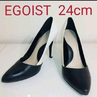 エゴイスト(EGOIST)のエゴイスト EGOIST パンプス 黒 ブラック バイカラー ホワイト 白 ピン(ハイヒール/パンプス)