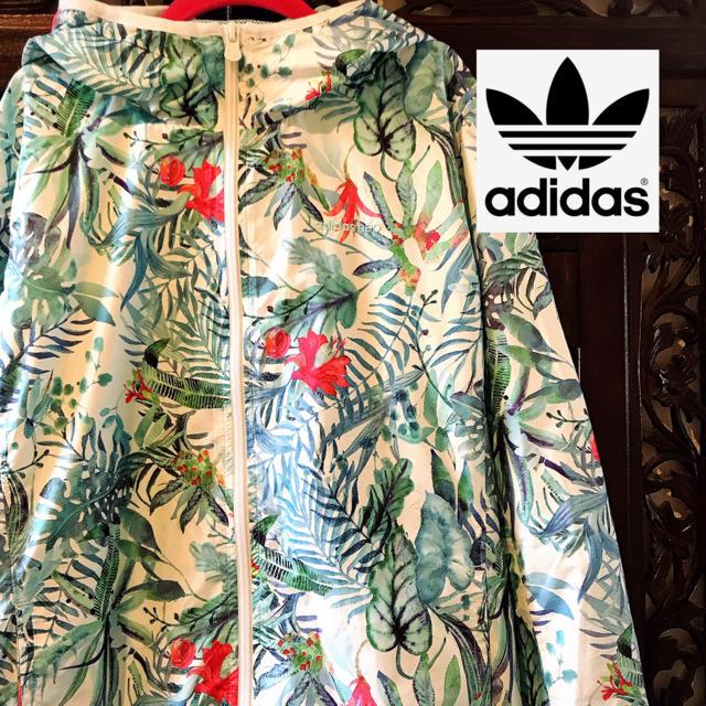 adidas(アディダス)のアディダス ネオ ボタニカル ジャージ ウィンドブレーカー 花柄 パーカー ML レディースのジャケット/アウター(ナイロンジャケット)の商品写真