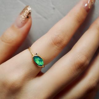 人気 タブレットオパール ダイヤ付き(リング(指輪))