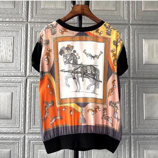 エルメス(Hermes)のシルク マダムトップス XL(カットソー(半袖/袖なし))