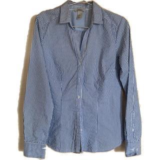 エイチアンドエム(H&M)のH&M ストライプシャツ スキッパーカラー レディース (シャツ/ブラウス(長袖/七分))