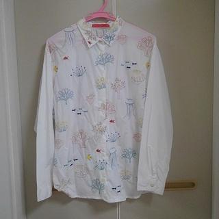 グラニフ(Design Tshirts Store graniph)のグラニフ(graniph) 刺繍  長袖 シャツ ( リトル コーラル リーフ)(シャツ/ブラウス(長袖/七分))