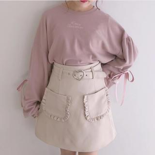 ハニーシナモン(Honey Cinnamon)のハニーシナモン  ハートバックル 台形スカート ベージュ(ミニスカート)