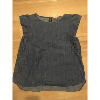 ジーユー(GU)のGU ノースリーブ デニムフリルブラウス(シャツ/ブラウス(半袖/袖なし))