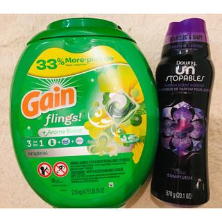 ピーアンドジー(P&G)のゲイン Gain ジェルボール 特大96個+ダウニー ビーズ ラッシュ 570g(洗剤/柔軟剤)