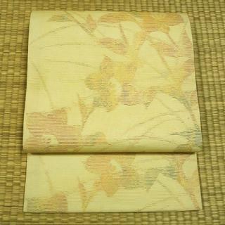 夏帯 淡い黄色に桔梗 開き名古屋帯(帯)