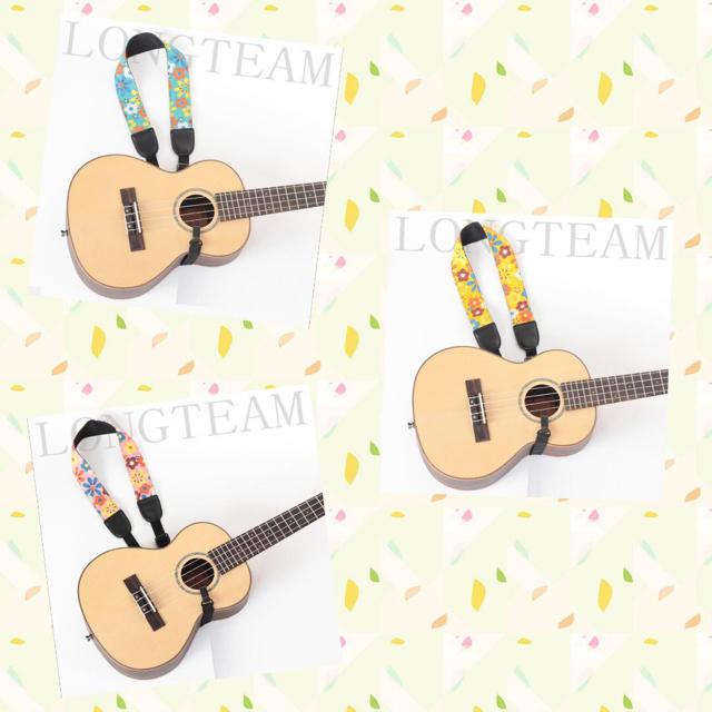 Longteamウクレレストラップ 首掛けタイプ【花×ピンク】かわいい 楽器のウクレレ(その他)の商品写真