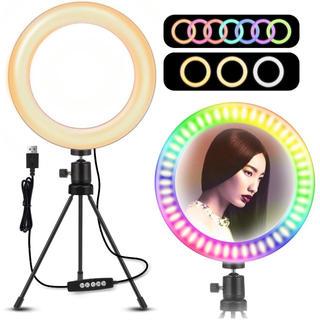 【新品未使用】Woumqin LEDリングライト 照明 10段階 生放送 動画(ストロボ/照明)