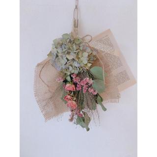 ドライフラワー  ピンクのバラとポポラスと紫陽花のスワッグ(ドライフラワー)