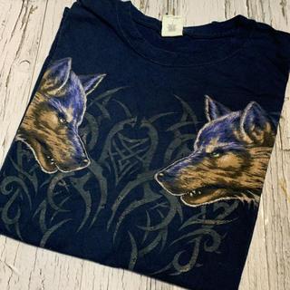 Tシャツ メンズ 狼 ウルフ ビッグプリント カッコいい アニマル 動物 XL(Tシャツ/カットソー(半袖/袖なし))