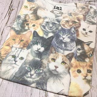 Tシャツ メンズ ビッグプリント Isaac Morris ねこ 猫 iml 白(Tシャツ/カットソー(半袖/袖なし))