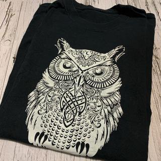 Tシャツ メンズ ビッグプリント フクロウ アニマル 両面プリント 黒 ブラック(Tシャツ/カットソー(半袖/袖なし))