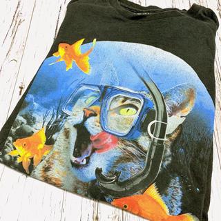 Tシャツ メンズ ビッグプリント 猫 ねこ ネコ CAT アニマル 黒 ブラック(Tシャツ/カットソー(半袖/袖なし))