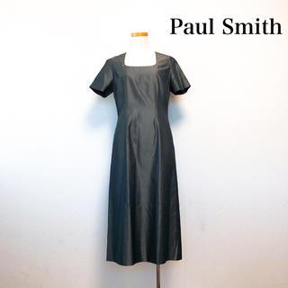 ポールスミス(Paul Smith)のPaul Smith ミモレ丈 ワンピース 光沢 グレー シルク混 美シルエット(ひざ丈ワンピース)