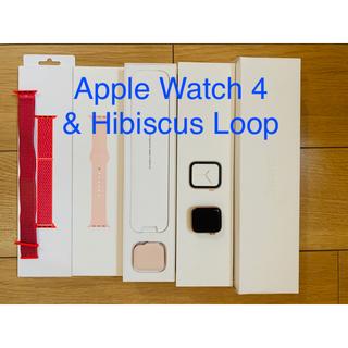 アップルウォッチ(Apple Watch)のアップルウォッチ4 40mmゴールドアルミニウムピンクサンドバンド&ハイビスカス(スマートフォン本体)