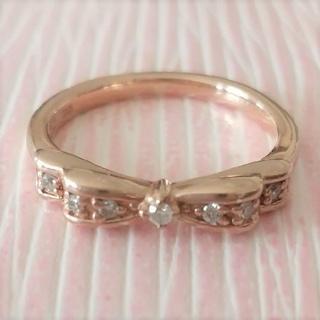ヨンドシー(4℃)の最終価格♪【4℃】K10 1号 リボン リング ダイヤモンド ルビー(リング(指輪))