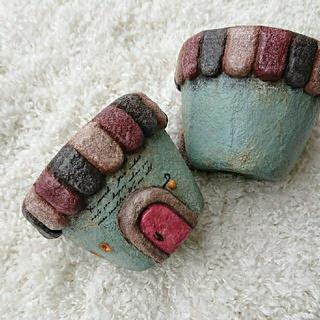 モルタル造形鉢*ブルー×ピンク(プランター)