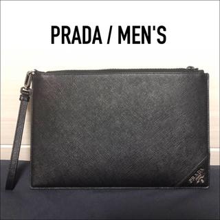 PRADA - PRADA プラダ メンズ クラッチバッグ サフィアーノ ブラック セカンド
