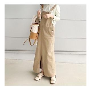 dolceドルチェ雑誌掲載完売ロングジャンパースカートベージュフリーサイズ(ロングワンピース/マキシワンピース)