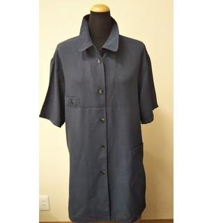 紺色 オーバーブラウス 13号着丈約80センチ(シャツ/ブラウス(半袖/袖なし))