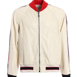 Gucci - グッチ GUCCI ロゴブローグ レザーボンバージャケット