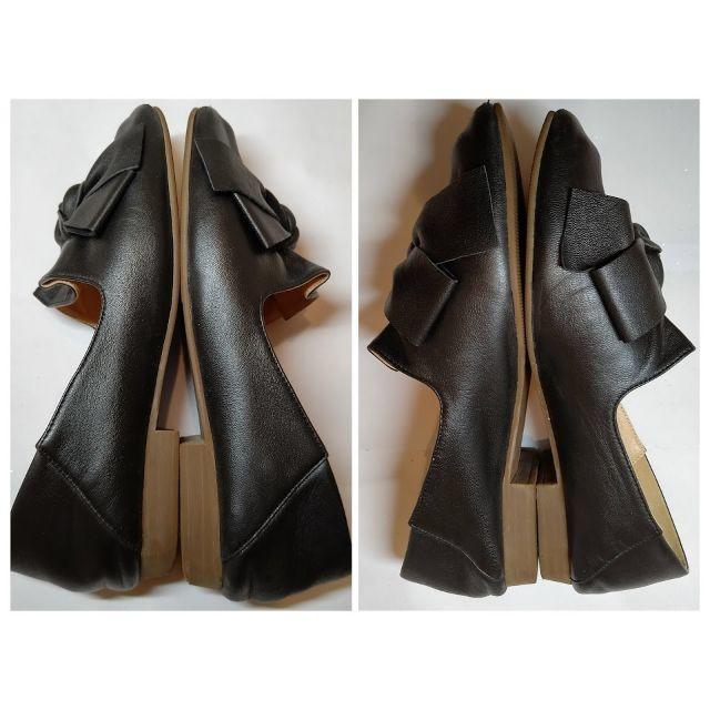 あしながおじさん(アシナガオジサン)のあしながおじさん リボン フラットシューズ ブラック 23.5㎝ レディースの靴/シューズ(ローファー/革靴)の商品写真