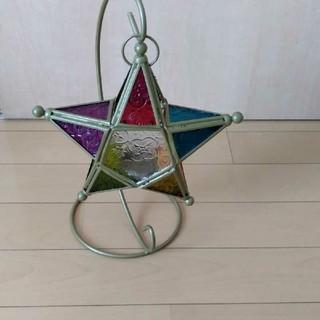 ステンドグラス風  吊り下げ  LEDキャンドルホルダー(フロアスタンド)