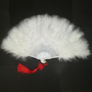 新品 特大羽扇子 ジュリアナ 大きな紐飾り付き 白(小道具)