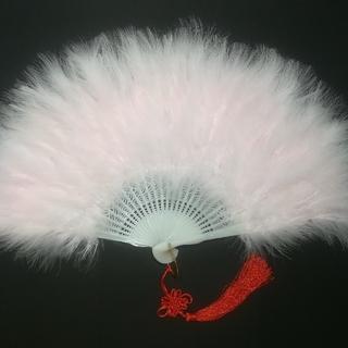 新品 特大羽扇子 ジュリアナ 大きな紐飾り付き ベビーピンク 白 セット(小道具)