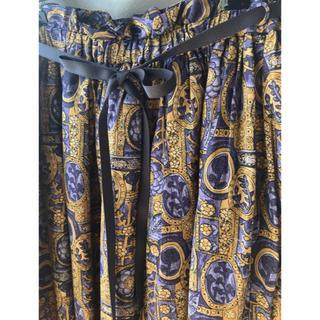 シャンブルドゥシャーム(chambre de charme)の美品 Malle マル スカート ロング ヴィンテージ 山のお祭り リボン(ロングスカート)