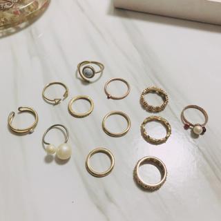 アダムエロぺ(Adam et Rope')のリング12個セット(ゴールド)(リング(指輪))