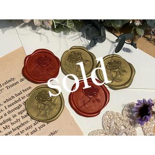 封蝋*antique rose*シーリングスタンプ**オリーブ&レッド5枚(カード/レター/ラッピング)