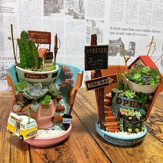 mimiさま専用 多肉植物の寄せ植え 丘の上のカフェバー 2号店風&6号店風(その他)