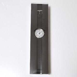 ムジルシリョウヒン(MUJI (無印良品))の未使用 無印良品 公園の時計 大 黒革 腕時計 MJ-PCWB1 ソーラー充電(腕時計)