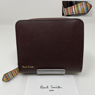 ポールスミス(Paul Smith)の未使用☺︎Paul Smith 二つ折り財布 ジップストローグレイン ブラウン(折り財布)