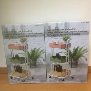 コストコ(コストコ)の二台セット 新品 コストコ キャスター付き3段ラック(棚/ラック/タンス)