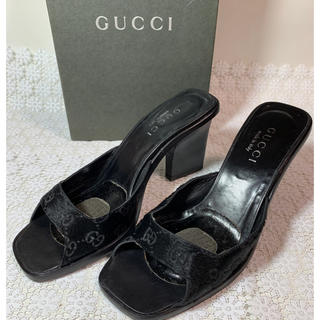 Gucci - GUCCI グッチ ハラコ レザー GG柄 ミュール 37 24㎝ 黒箱付
