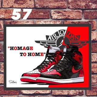 AJ 1 HOMAGE TO HOME コミックシューズ ポスター 1枚 額付き(スニーカー)
