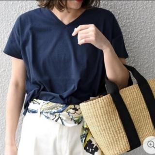 シップスフォーウィメン(SHIPS for women)のSHIPS Days Standard ソフトコットンVネックTee【ネイビー】(Tシャツ(半袖/袖なし))