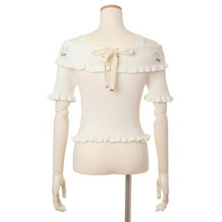 リズリサ(LIZ LISA)のリズリサ 花柄刺繍ニットトップス(カットソー(半袖/袖なし))