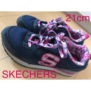 SKECHERS - スケッチャーズ スニーカー  21cm 花柄 女の子 ネイビー×ピンク