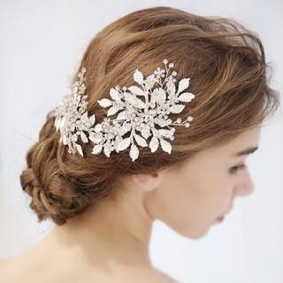大きめリーフ&ストーンヘッドドレス、ウエディングヘアーアクセサリー髪飾り(ヘッドドレス/ドレス)