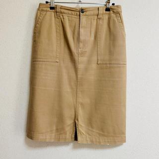 イッカ(ikka)のベージュストレッチ膝丈タイトスカート(ひざ丈スカート)